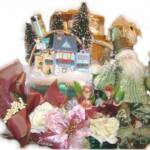 Christmas Santa Village Gift Basket