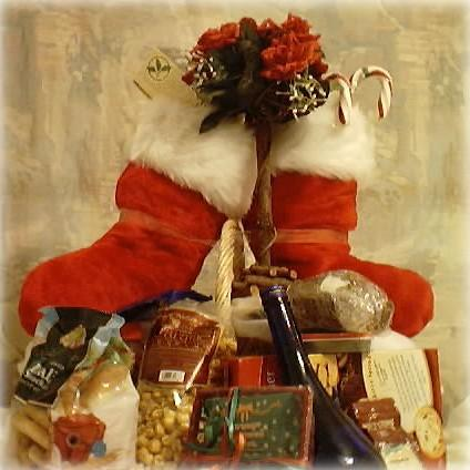 Santa Boots with gourmet snacks Christmas Basket